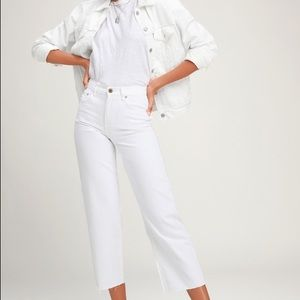 White Wide Leg High-Waisted Cropped Jeans